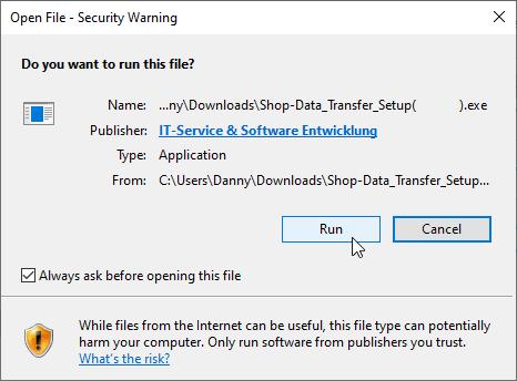 Installation security warning