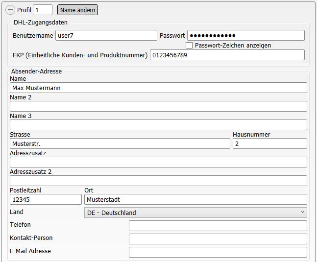 Konfiguration DHL Geschäftskunden