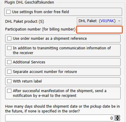 Transfer settings of the plugin DHL Geschäftskunden