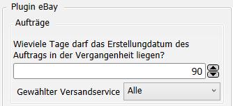 Transfer-Einstellungen eBay nach Versanddienstleister