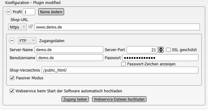 Konfigurations-Einstellungen Plugin modified