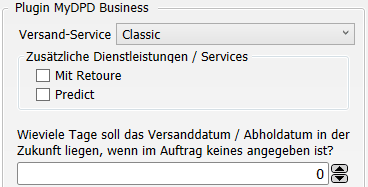 Transfer-Einstellungen MyDPD Business