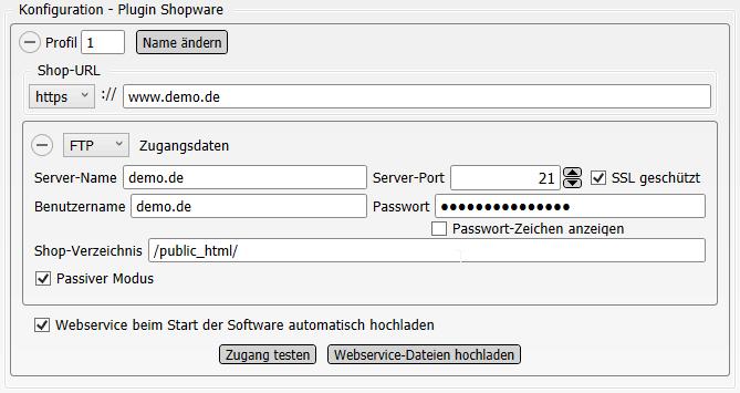 Konfigurations-Einstellungen Shopware