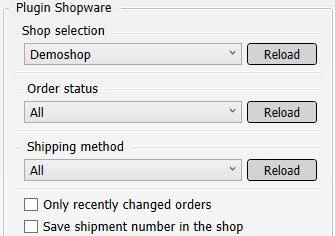 Transfer settings from Shopware to shipping service provider