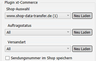 Transfer-Einstellungen xt:Commerce nach Versanddienstleister