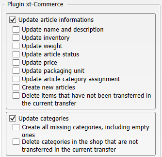 Transfer settings from merchandise management to xt:Commerce
