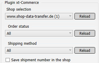 Transfer settings from xt:Commerce to shipping service provider