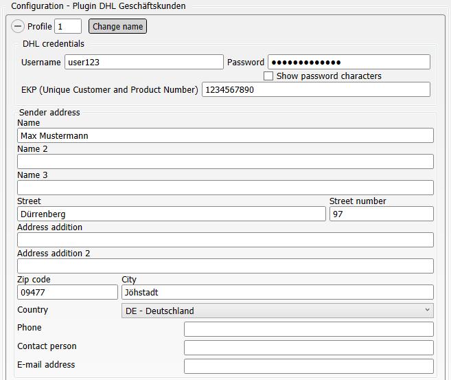 Configuration of the plugin DHL Geschäftskunden