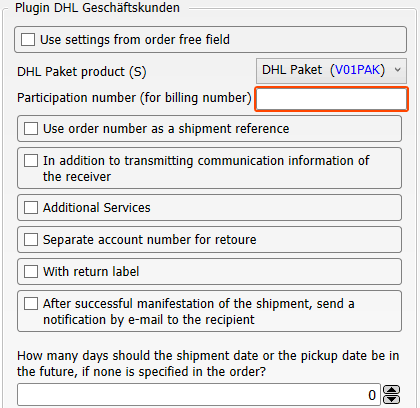 Transfer settings of the plugin DHL Geschäftskunden