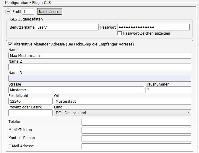 Konfiguration Shop-Data Transfer Plugin GLS