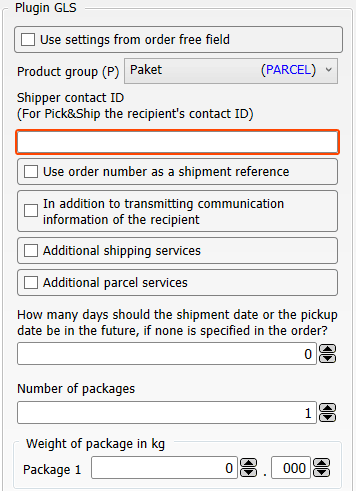 Transfer settings Shop-Data Transfer Plugin GLS