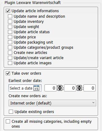 Transfer settings webshop to Lexware Warenwirtschaft