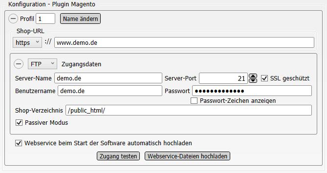 Konfigurations-Einstellungen Magento