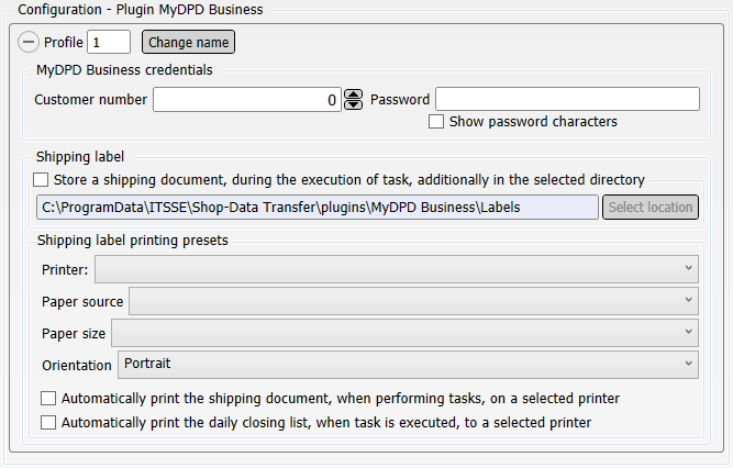 Configuration Shop-Data Transfer Plugin MyDPD Business