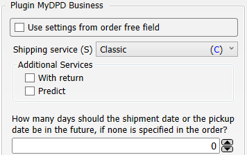 Transfer settings Shop-Data Transfer Plugin MyDPD Business