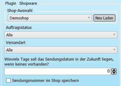 Transfer-Einstellungen Shopware nach Versanddienstleister