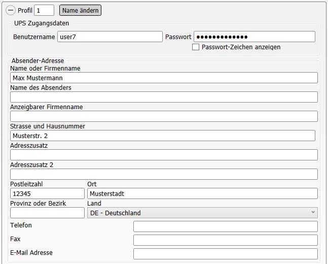Konfiguration Shop-Data Transfer Plugin UPS