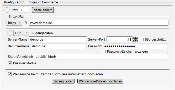 Konfigurations-Einstellungen Plugin xt:Commerce