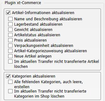 Transfer-Einstellungen Warenwirtschaft nach xt:Commerce