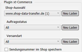 Transfer-Einstellungen xt:Commerce nach Versanddienstleister